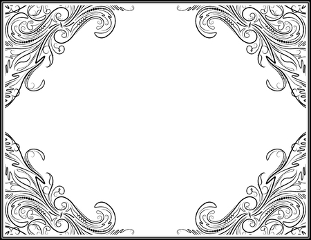 Vintage black frame with empty place for your text or other design, vector illustration greeting card. Vector Illustration
