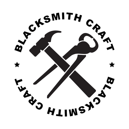 Round blacksmith craft label with hammer and mites for your logo or design