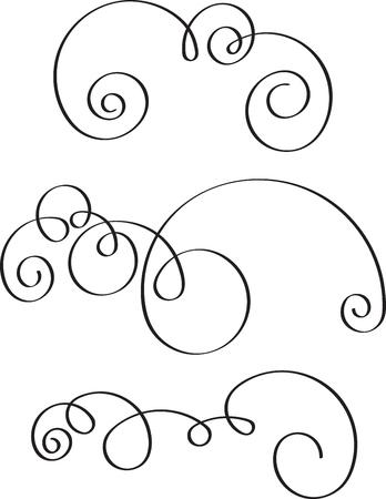 Set of 3 decorative swirls for your design Ilustração