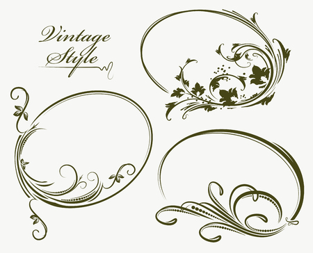 Beautiful collection of vintage style oval frames. Vector illustration.