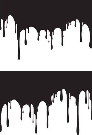 Pair of black paint drips. Vector illustration for your design. Ilustração