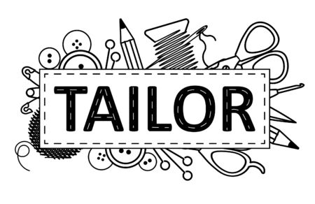 Tailor design. Can use as label, signboard for atelier studio, etc Ilustrace