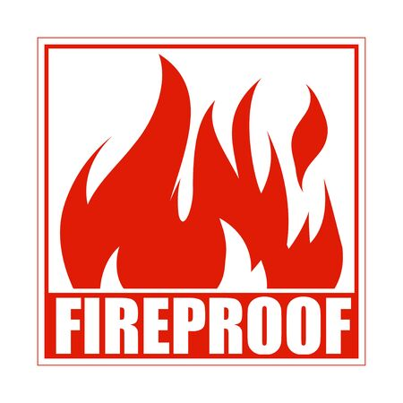 Fireproof square icon, design, sign, red label with blazing flame.