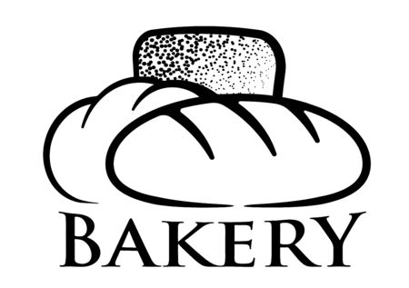 Bakery illustration with shapes of loaf, bun, bread. Can be used for banners, packaging, grocery shop design.