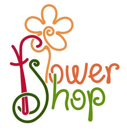 Flower Shop handwritten colorful design with stylized shape of flower. Floral store decor illustration. Çizim