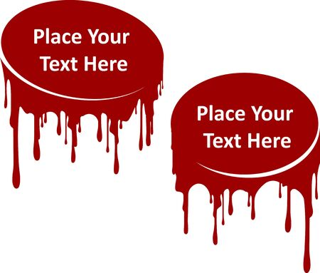 Pair of red dripping paint decors with place for your text. Template for your design. Current liquid, stylized stains of flows paint or inks.