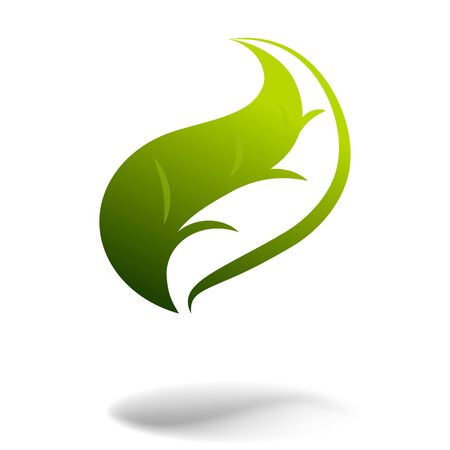 icon of green leaf for ecology, medical or other design.