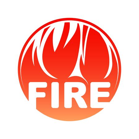 Round fire, red circle flaming design with text.