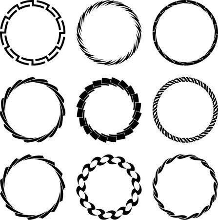 Set of nine round frames on a white background Ilustrace