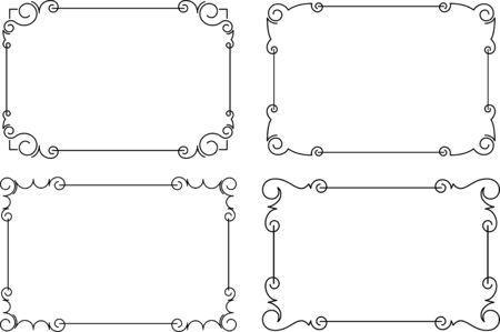 Set of 4 black vector frames for your design