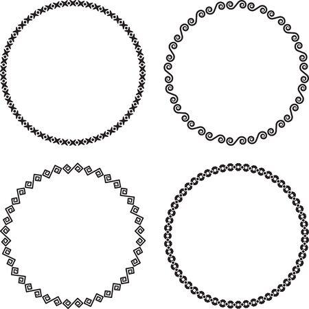 Set of four ascetic round frames on a black background  Ilustrace
