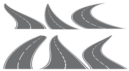 Set of six vector roads wit white marks isolated on transparent background. Vector EPS 10. Illusztráció
