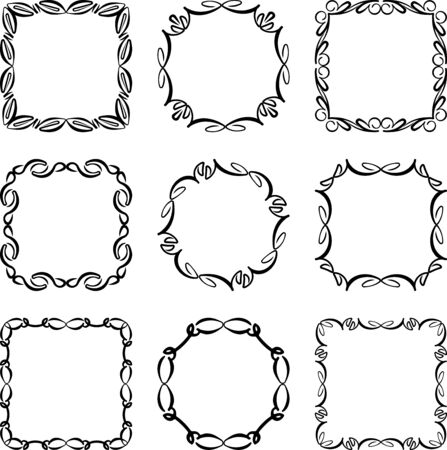 Set of nine simple stylish decorative frames on a white background.
