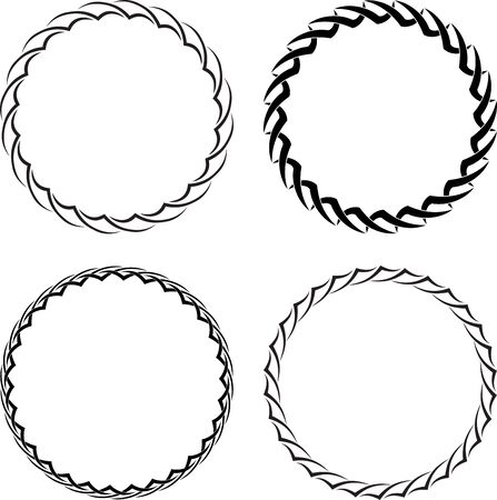 Set of four decorative round frames for your design. Ilustrace