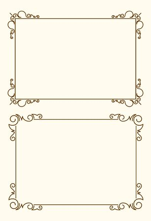 Pair of elegant very simple, but stylish calligraphy vector frames for your design.