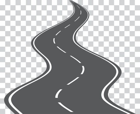 Kurvenreiche Straße des Vektors lokalisiert auf transparentem Hintergrund. Vektor. Vektorgrafik