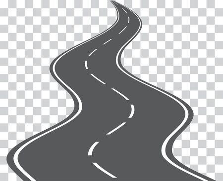 Vector sinuoso camino aislado sobre fondo transparente. Vector. Ilustración de vector