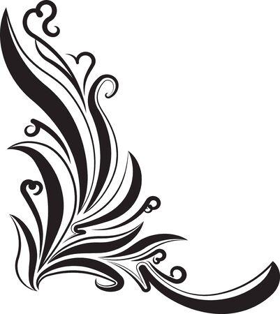 Decorative corner, floral branch for your design. Çizim