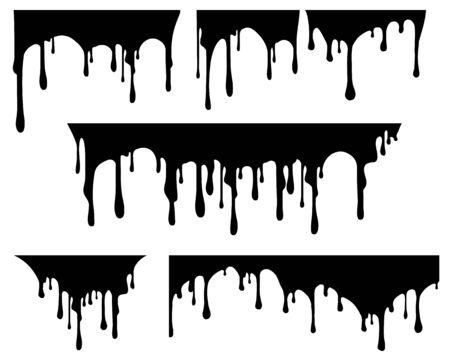 Set of black paint drips. Vector illustration for your design. Illustration