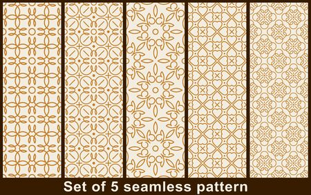 Set of five vector seamless rounded lines patterns.