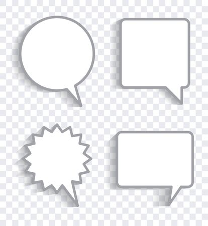 Set of four speech bubbles with empty space for your text and shadow