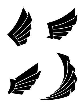 Set of four wings on a white background Çizim