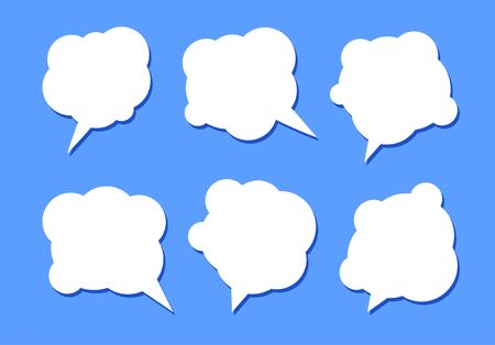 Set of six white speech bubbles with shadow on a blue background.