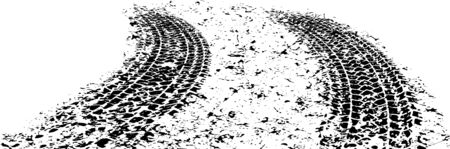 Pair of vector trails, traces of the tyre in grunge style on a dirty background