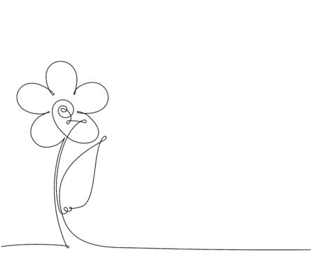 Abstract vector flower in one continuous line style for your design.