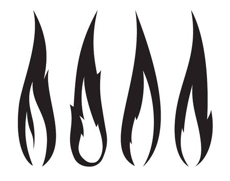 Set of four unusual thin black realistic stylish fire flames.