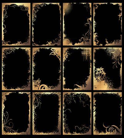 Set of golden grunge floral frames on a black background. Ilustração