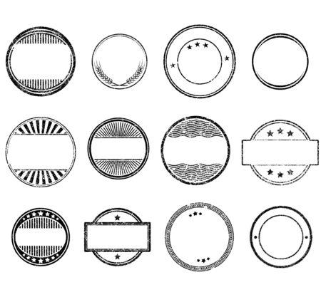Set of circle grunge rubber stamps templates Ilustración de vector