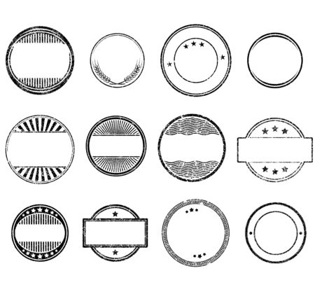 Set of circle grunge rubber stamps templates Ilustração Vetorial
