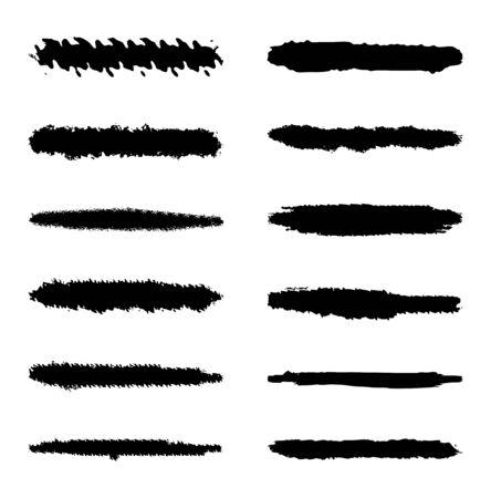 Set of ten black vector grunge ink brush strokes for your design.