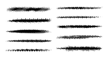 Set of eight black vector grunge ink brush strokes for your design.