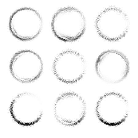 Set of nine vector black circle halftone frames or other design