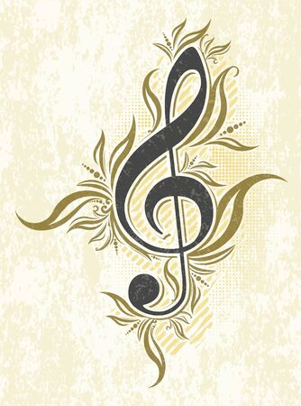 Vintage musical vector background with treble clef. Vettoriali