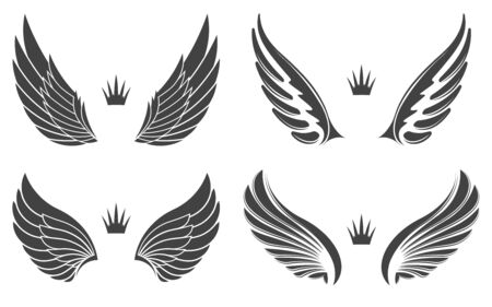 Set of four pairs of wings with crowns. Illusztráció