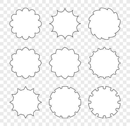 Set of decorative stars, gears, speech talking bubbles for your design. Illusztráció
