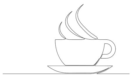 Emblem of cup of coffee in one continuous line drawing style for cafe, shop, restaurant or coffee house signboard.
