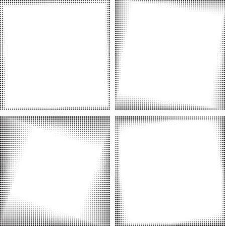 Set of four vector black square halftone frames for your logo or other design
