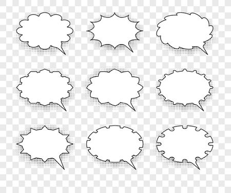 Set of nine vector talking bubbles with white fills and transparent background. Illusztráció