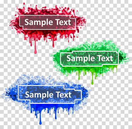 Set of three abstract colorful grunge decors with frames for text and drips.