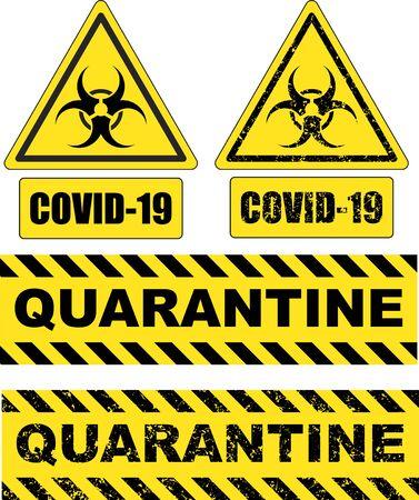Sign of biological hazard. Covid-19. Quarantine.
