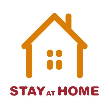 Stay at home social sign with flat style illustration of a home.  Novel coronavirus Covid-19 outbreak. Illusztráció