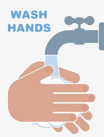Hand washing flat style illustration. Novel coronavirus Covid-19 2019-nCoV pandemic outbreak. Protection from coronavirus. Vector illustration.