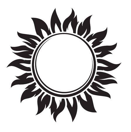 Decorative black sun symbol with long rays. Vector illustration. Illusztráció