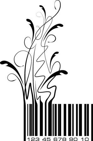 Conceptual ecological illustration bar code with floral branch. Vector. Illusztráció
