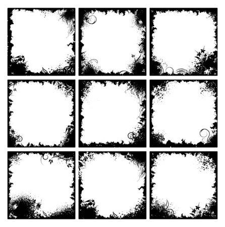Set of nine black floral frames in grunge style