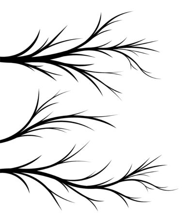 Set of 3 black vector floral branches